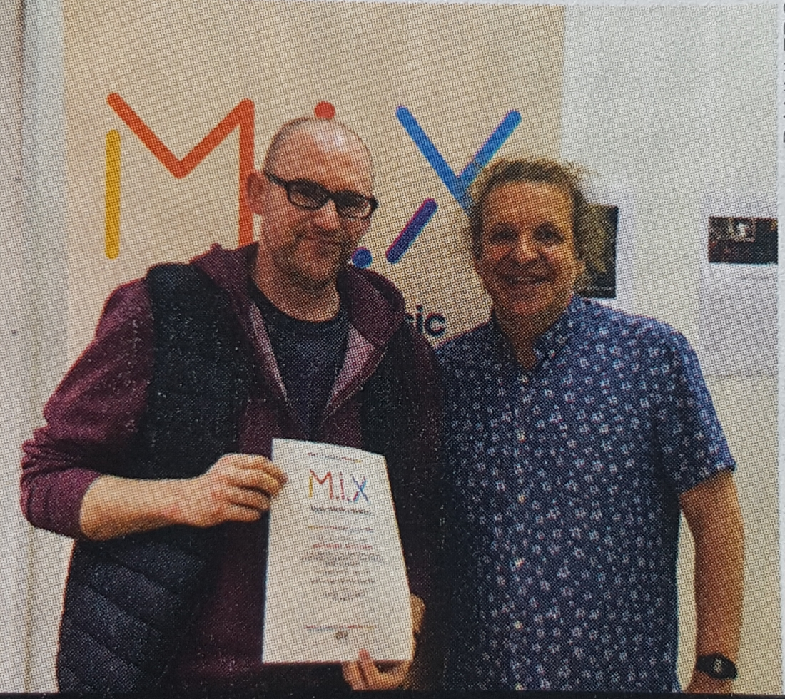 Anthony with Stuart Clark of Hot Press at the end of the Hot Press M.I.X. Course in 2019.